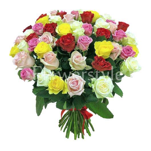 Букет разноцветных роз (31, 51 или 71) дополнительные изображения