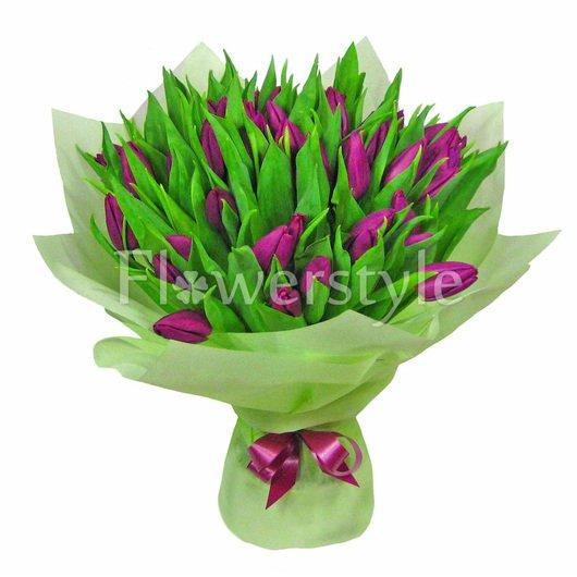 """Букет """"Сиреневый тюльпан"""" (51, 75 или 101 шт) дополнительные изображения"""