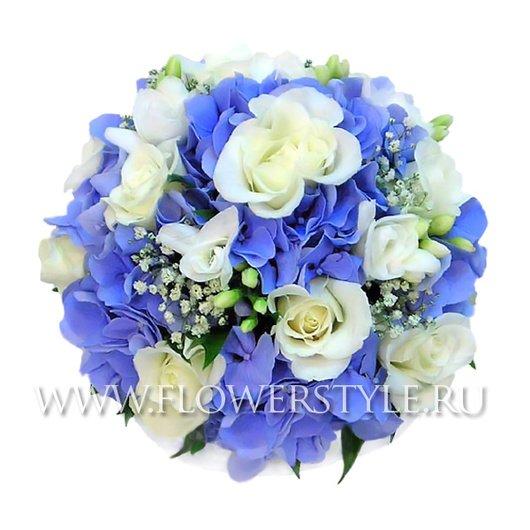 Свадебный букет из роз и гортензий № 13