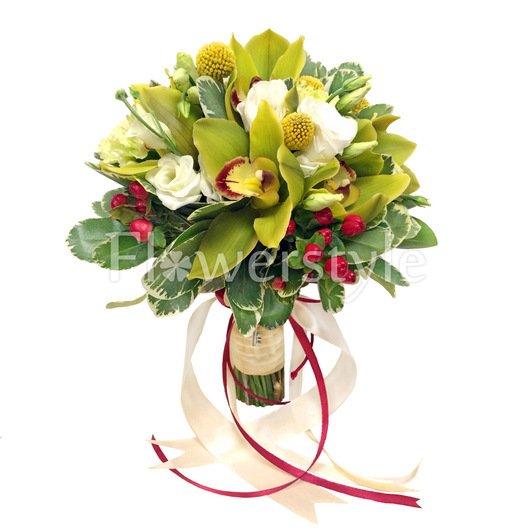 Свадебный букет из орхидей № 65 дополнительные изображения