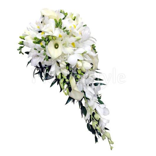 Каскадный букет невесты из орхидей и калл № 134 дополнительные изображения