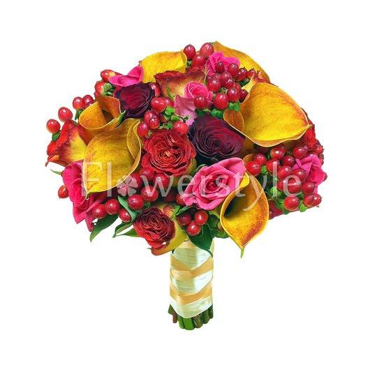 Свадебный букет из роз № 125 дополнительные изображения