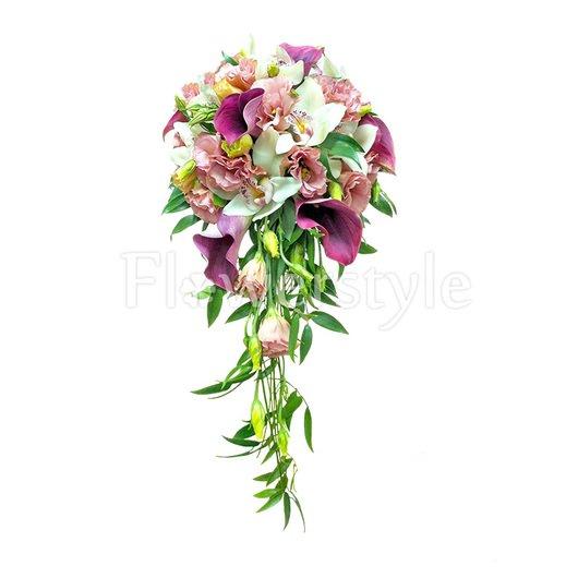 Свадебный букет из орхидей и калл № 52 дополнительные изображения