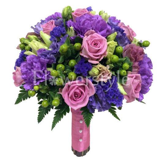 Букет невесты с розами и гвоздикой №147 дополнительные изображения