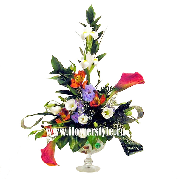 Композиция из цветов в стекле № 24