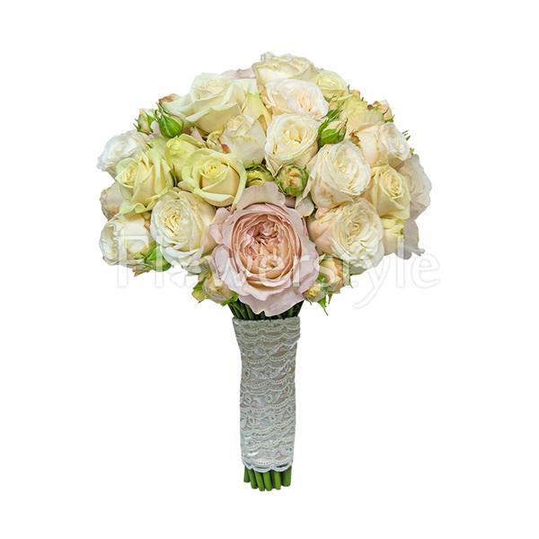 Свадебный букет из пионовидных роз № 83
