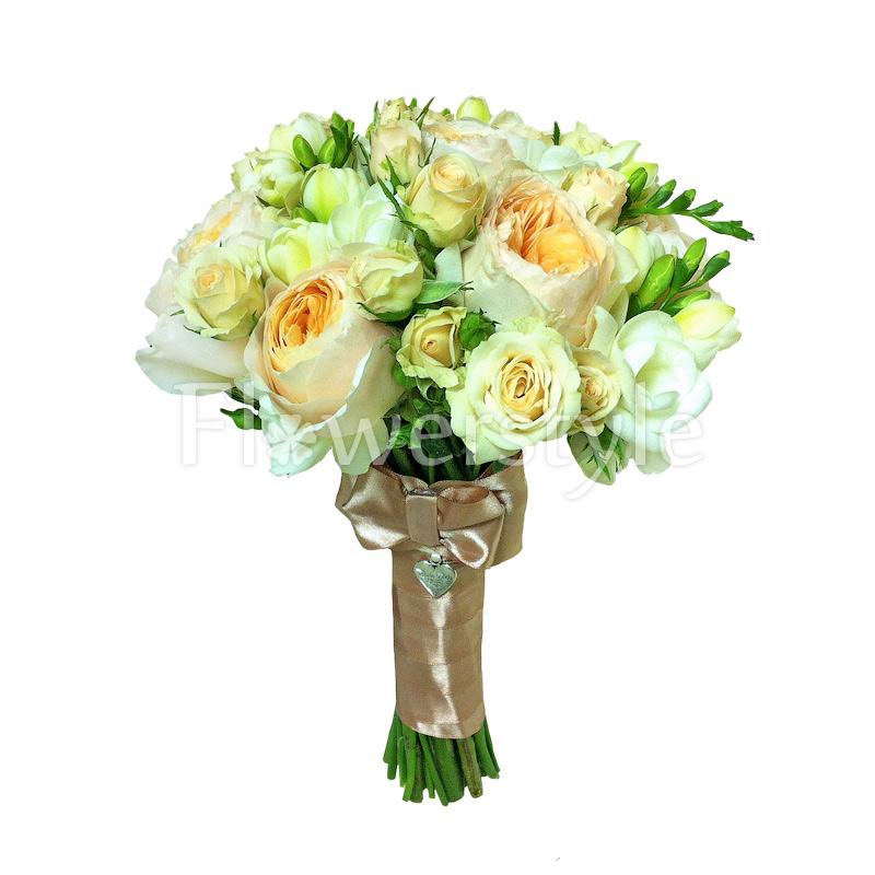 Свадебный букет из пионовидных роз № 102