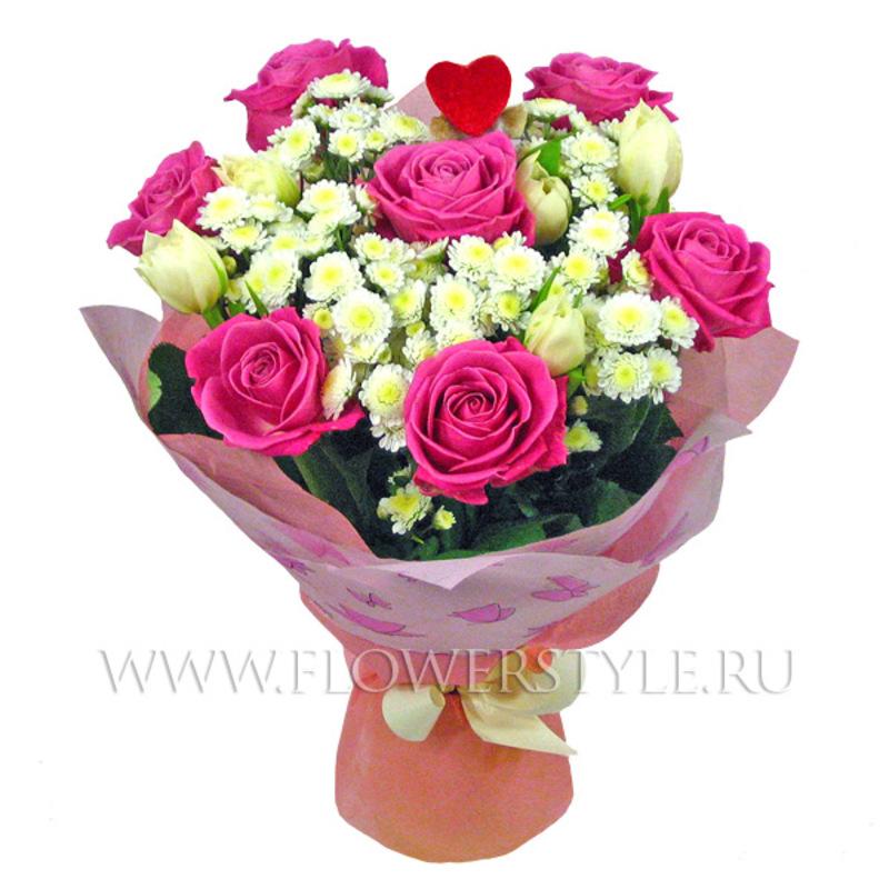 Букет из хризантем и роз