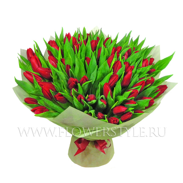 75 алых тюльпанов