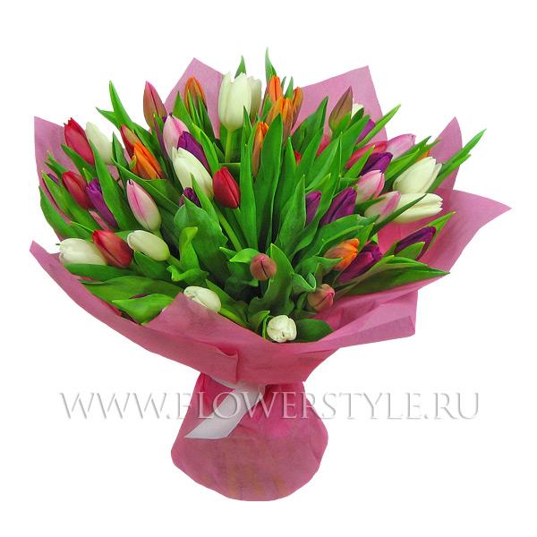 """Букет тюльпанов """"Разноцветная мозаика"""""""