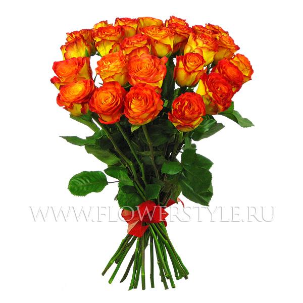 """Подарочный букет из 25 роз """"Пылкие чувства"""""""