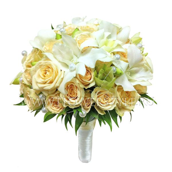 Свадебный букет из кустовых роз и орхидей № 24
