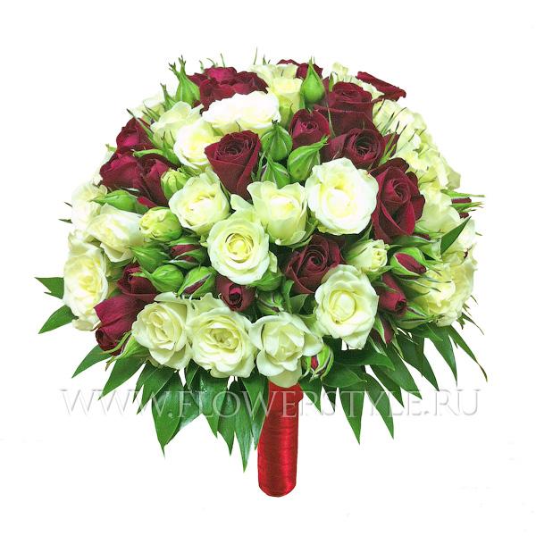 Свадебный букет из кустовых роз № 22