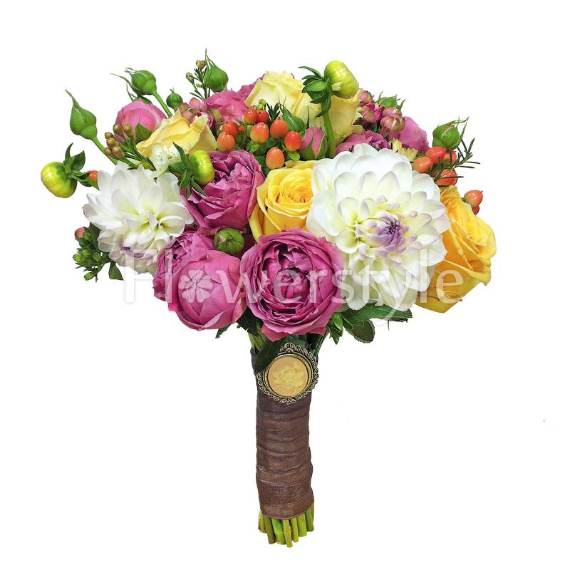 Свадебный букет из пионовидных роз № 113