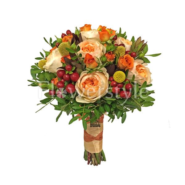 Свадебный букет из пионовидных роз №138
