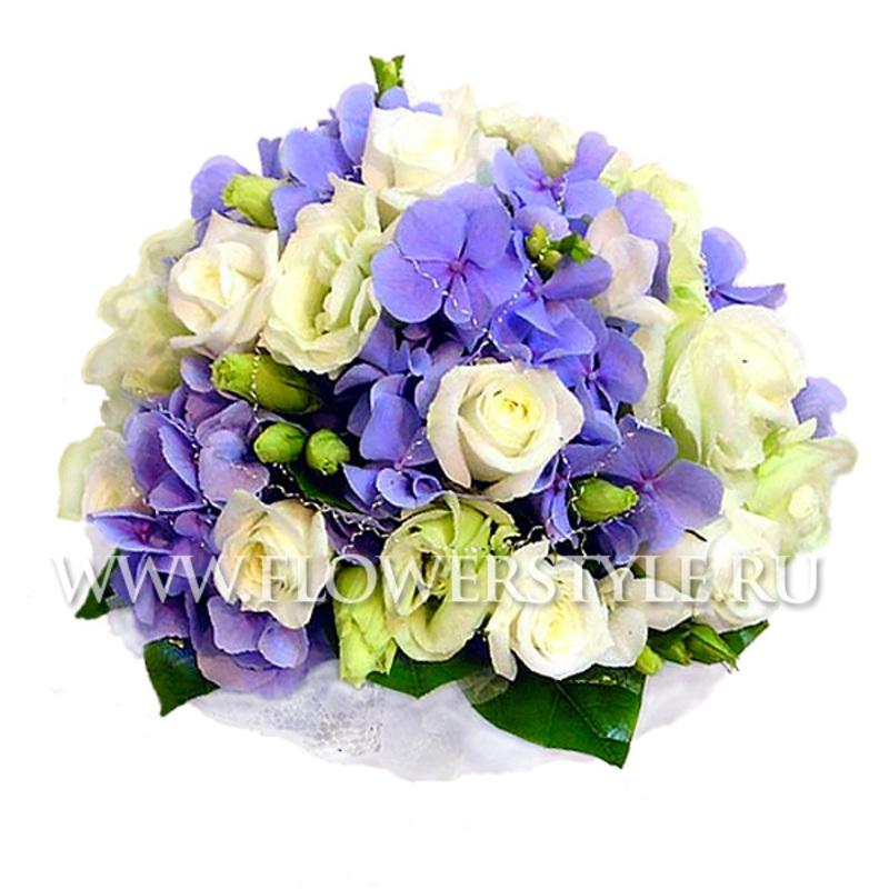 Свадебный букет из роз и гортензий № 10