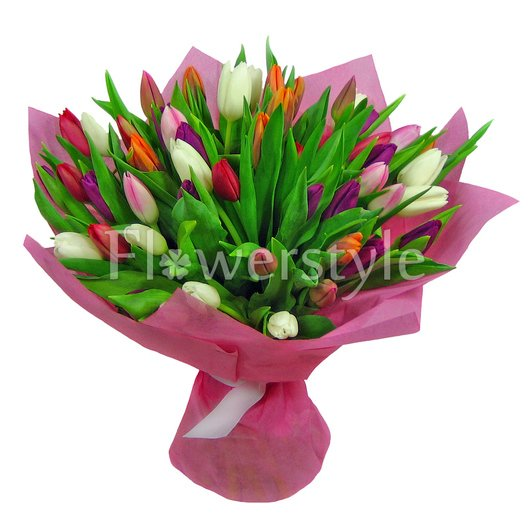 """Букет тюльпанов """"Разноцветная мозаика"""" (51, 75 или 101) дополнительные изображения"""
