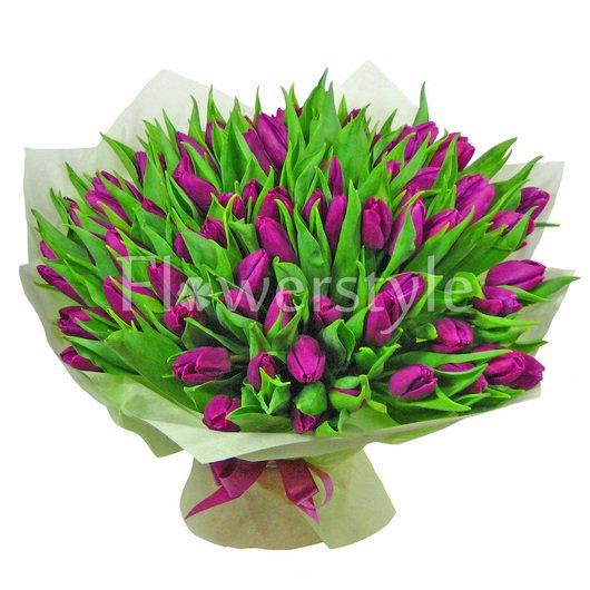 Большой букет сиреневых тюльпанов (75, 101 или 151) дополнительные изображения