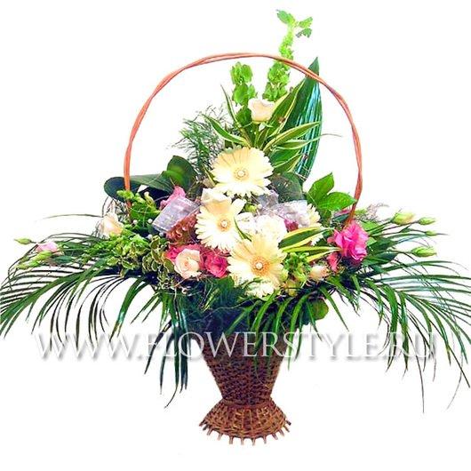Цветы в корзине «Жемчужина»