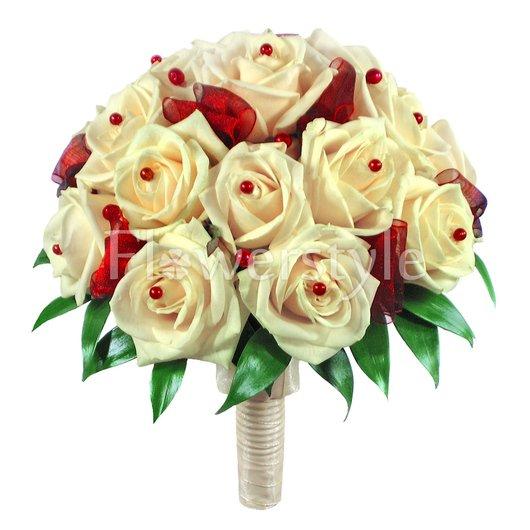 Букет цветов для невесты из роз № 48 дополнительные изображения