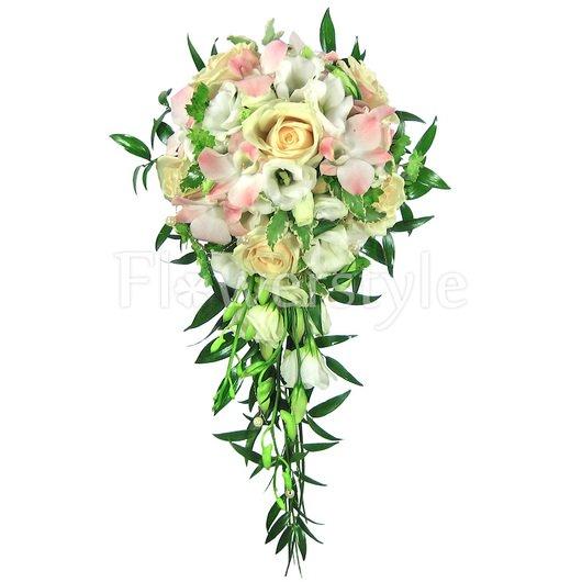 Каскадный букет невесты № 59 дополнительные изображения
