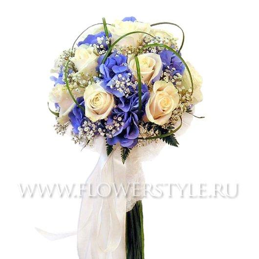 Свадебный букет из роз и гортензий № 95
