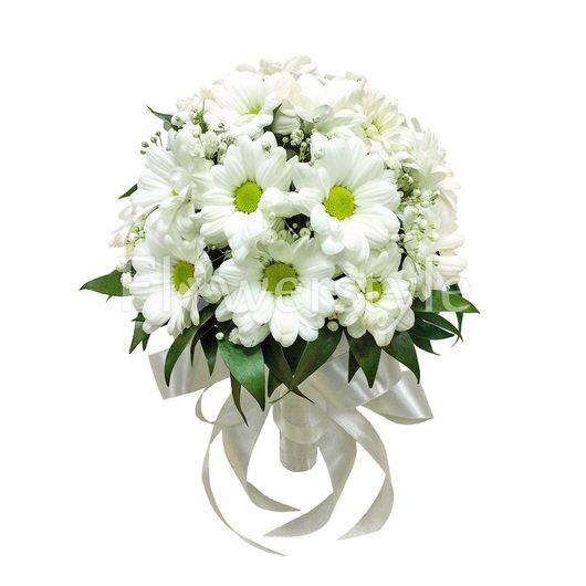 Свадебный букет из хризантем № 23 дополнительные изображения
