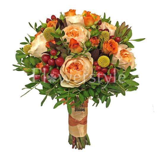 Свадебный букет из пионовидных роз №138 дополнительные изображения