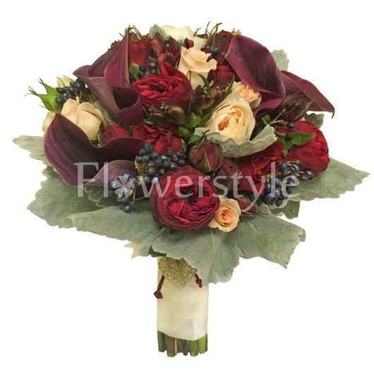 Букет невесты из пионовидных кустовых роз №159 дополнительные изображения