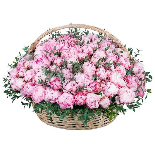 Корзина цветов из 101 нежно-розового пиона